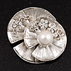 Diamante 'Lotus' Layered Floral Brooch In Rhodium Plated Metal