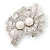 Abstract Simulated Pearl Floral Brooch In Rhodium Plated Metal