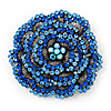 Spectacular Dimensional Rose Brooch In Aged Silver Tone Metal In Blue Shades - 60mm D