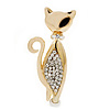 Stylish Diamante Kitty Brooch In Gold Plated Metal