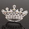 Clear & AB Crystal Crown Brooch In Rhodium Plated Metal