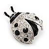 Black Enamel Ladybug Brooch (Silver Tone)