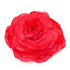 Large Pink Red Fabric Rose Brooch