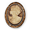 Swarovski Crystal Vintage Cameo Brooch (Burn Silver & Brown)
