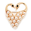 Simulated Pearl Heart With Two Swan Brooch (Gold Plated Metal)