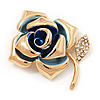 Gold Plated Crystal Rose Brooch (Blue & Clear)