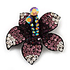 Stunning Purple Diamante Flower Brooch (Gun Metal Finish)