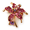 Tiny Pink Crystal Daisy Floral Pin In Gold Plated Metal