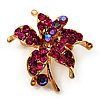 Tiny Magenta Crystal Daisy Floral Pin In Gold Plated Metal