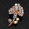 Tiny Clear Crystal Calla Lily Pin Brooch (Gold Tone)