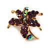 Tiny Deep Purple Crystal Daisy Floral Pin In Gold Plated Metal