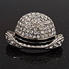 Clear Crystal Man 'Hat' Brooch In Rhodium Plated Metal