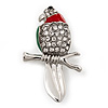 Rhodium Plated Crystal 'Parrot' Bird Brooch - 48mm L