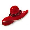 Red Enamel Crystal 'Hat' Brooch In Rhodium Plated Metal