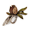 Vintage Burn Gold Crystal Rose Brooch (Clear, Citrine, Olive & Amber Colour)