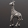 Burn Silver Diamante Giraffe Brooch