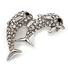 Cute Diamante Dolphin Brooch (Rhodium Plated Metal)