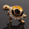 Small Crystal Enamel 'Turtle' Brooch In Gold Plated Metal
