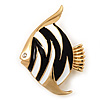 Black/White Enamel 'Fish' Brooch In Gold Plated Metal
