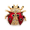 Black/Red Enamel Crystal Lady Bug Brooch In Gold Plated Metal - 2cm Length