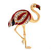 Crystal Enamel 'Flamingo' In Gold Plated Metal