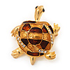 Light Gold Plated Enamel 'Turtle' Brooch