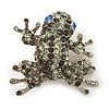 Swarovski Crystal 'Frog' Brooch In Rhodium Plated Metal (Light Green/ Grey)