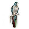 Oversized Multicoloured Enamel 'Parrot' Brooch In Silver Plated Metal - 10cm Length