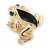 Small Black Enamel 'Frog' Brooch In Gold Plated Metal - 2.5cm Length