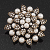Bridal White Faux Pearl Floral Brooch In Antique Gold Plating - 5.5cm Diameter