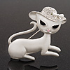 'Lady Cat In The Crystal Hat' Brooch In Silver Tone Metal - 5cm Length