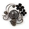 Black Tone Metal Floral Brooch - 4.5cm Diameter
