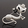 White Matte Enamel 'Lady Cat With Black Rose' Brooch In Silver Tone Metal - 5.5cm Length