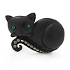 Cute Black 'Little Kitty' Diamante Brooch - 4cm Length