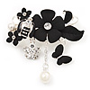 'Bee, Flowers & Butterfly' Charm Brooch In Rhodium Plated Metal - 5cm Length