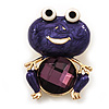 Deep Purple Enamel 'Frog' Brooch In Gold Plated Metal - 4.5cm Length