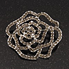 Silver Tone Ash Grey Swarovski Crystal 'Rose' Brooch - 6cm Diameter