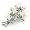 Fancy Faux Pearl Floral Brooch In Silver Tone Metal - 6.5cm Length
