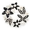 Black Enamel Simulated Pearl Crystal Wreath Brooch In Silver Tone Finish - 5cm Diameter