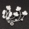 Flower & Butterfly White/Black Enamel Crystal Brooch In Silver Tone Metal - 6cm Length
