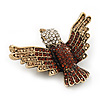 Clear / Citrine / Amber Coloured Swarovski Crystal 'Flying Bird' Brooch In Gold Plated Metal - 5cm Length