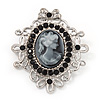 Silver Tone Black Diamante Filigree 'Cameo' Brooch - 5.5cm Length
