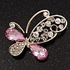 Asymmetrical Pink/Clear Diamante Butterfly Brooch In Gold Finish - 5cm Length