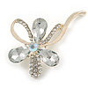 Abstract Clear Diamante Floral Brooch In Gold Finish - 6cm Length