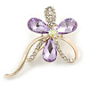 Abstract Light Purple/Clear Diamante Floral Brooch In Gold Finish - 6cm Length