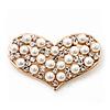 Gold Tone Faux Pearl Diamante 'Heart' Brooch - 4.5cm Length