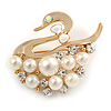 White Faux Pearl 'Swan' Brooch In Gold Plated Metal - 4cm Length
