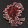 Red Crystal 'Bow' Brooch In Silver Plating - 5.5cm Length