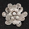 Bridal Clear Diamante White Peal 'Flower' Brooch In Silver Plating - 4.5cm Diameter