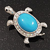 AB Crystal Turtle Brooch In Silver Tone Metal - 5.5cm Length